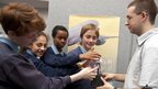 Cerys, Fatemah, Abdirahim and Ieuan learn about the technology which protects aircraft from lightning strikes using a plasma sphere