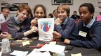 Cerys, Fatemah, Ieuan and Abdirahim  design their own games app – complete with logo