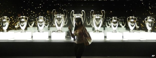 Real Madrid's trophies on display at the Santiago Bernabeu stadium in Madrid, Spain.