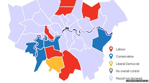 Local elections map of London