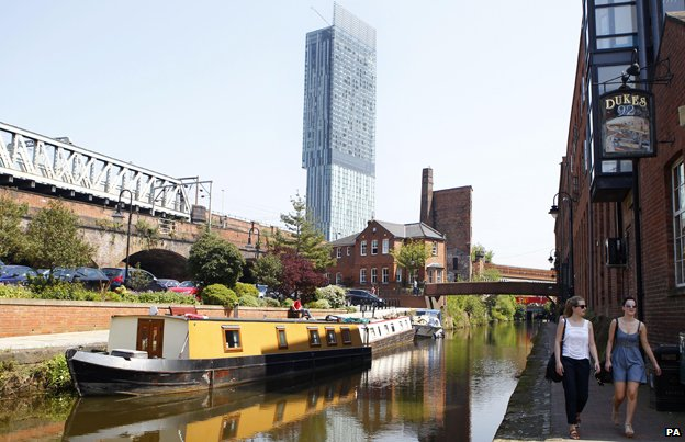 The Beetham Tower overlooking a canal, Manchester