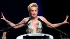 Actress Sharon Stone attends an auction at the Amfar's Cinema Against Aids 2014 event in Antibes during the Cannes Film Festival