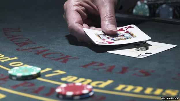 Cards on a blackjack table