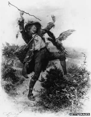 A book illustration of Barnaby Rudge and his raven Grip