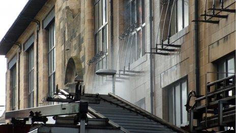 "Firefighters tackling a major blaze at Glasgow School of Art""s Charles Rennie Mackintosh building"