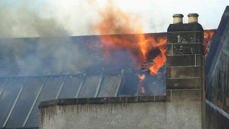 Burning roof of the Mackintosh building