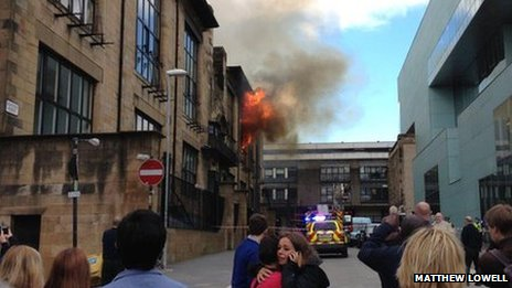 Matthew Lowell took this on the corner of Rose Street and Renfrew Street soon after the fire broke out around midday.