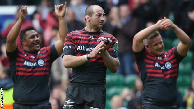 Saracens celebrate beating Clermont Auvergne