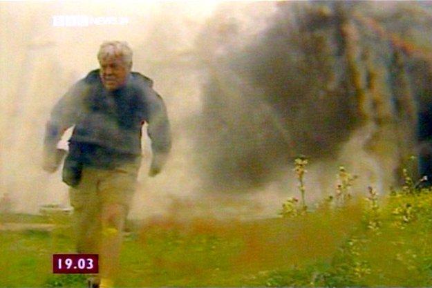 John Simpson fleeing the scene of a 'friendly fire' in Iraq