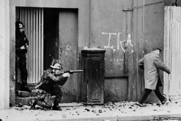 British Army soldiers patrolling November 1971
