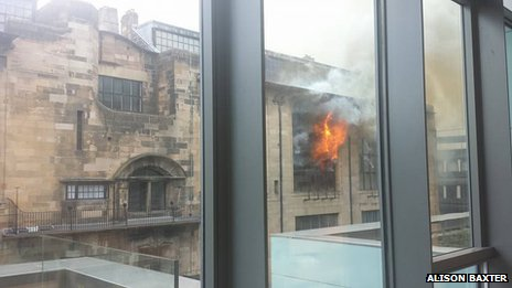 """Alison Baxter, a third year Textile Design Student, said: """" I was inside the new GSA Reid Building watching the outbreak of the fire until we were evacuated."""""""