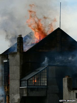 Flames engulf the the Glasgow School of Art Charles Rennie Mackintosh Building after a fire broke out