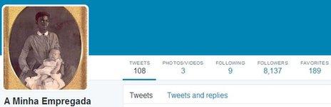 A screengrab of the @aminhaempregada Twitter account