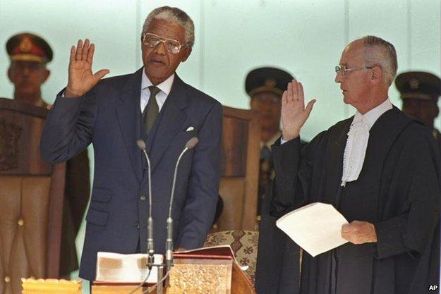Mandela takes oath in 1994