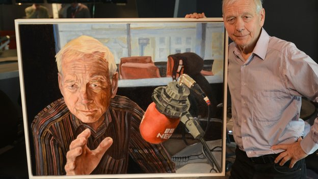 John Humphrys with his portrait by Stella Tooth