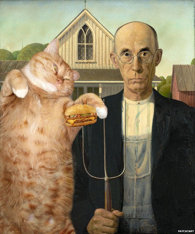 Ameri-cat Gothic. I can has cheezburger? Based on Grant Wood's American Gothic
