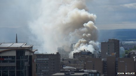 The smoke from the fire was visible across Glasgow city centre