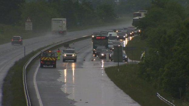 A55 in north Wales closed due to flooding