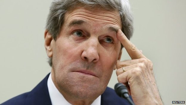 US Secretary of State John Kerry testifies before the House Foreign Affairs Committee hearing on Capitol Hill in Washington 13 March 2014