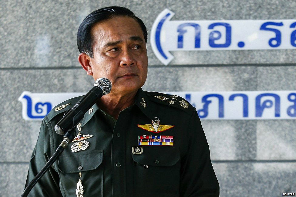 Thai army chief General Prayuth Chan-ocha speaks at a news conference at the Bangkok Army Club - 20 May 2014