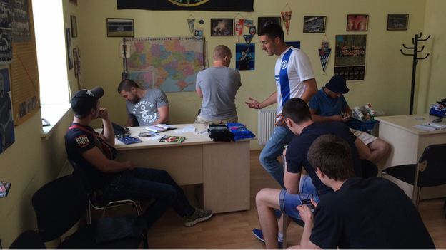 Dnipro fans in their HQ