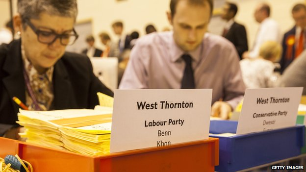 Council staff counting votes from local elections in Croydon