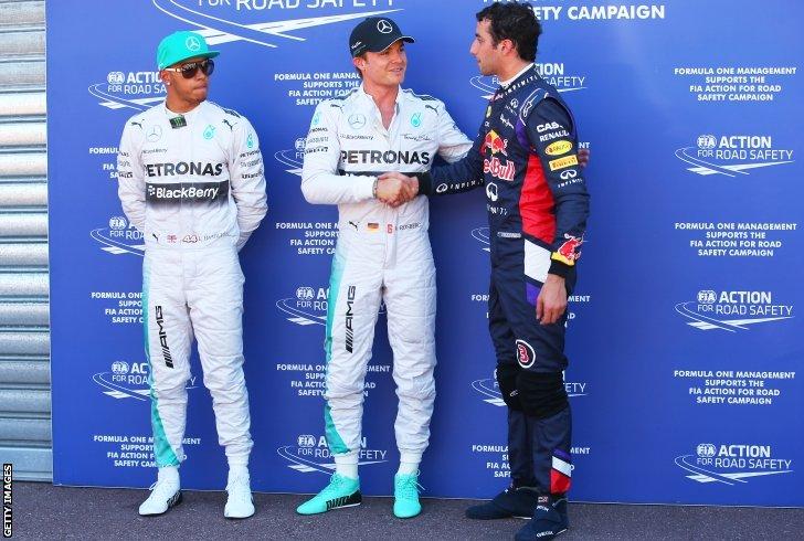 Lewis Hamilton, Nico Rosberg and Daniel Ricciardo