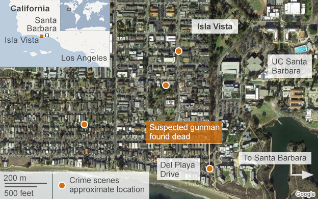 map showing area of shootings