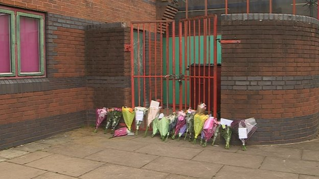 Floral tributes for dead girl at Phoenix Youth Club, Exeter
