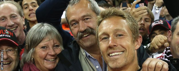 Toulon captain Jonny Wilkinson celebrates the Heineken Cup victory over Saracens with his parents  Phillipa and Phil
