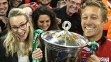 Jonny Wilkinson celebrates with the Heineken Cup and wife Shelley at the Millennium Stadium