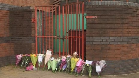 Floral tributes to Nicole Hartup at Phoenix Youth Club, Exeter