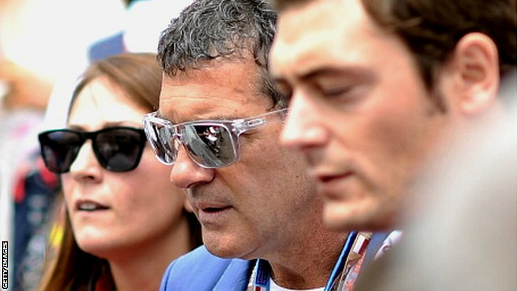Antonio Banderas (centre) at the Monaco Grand Prix