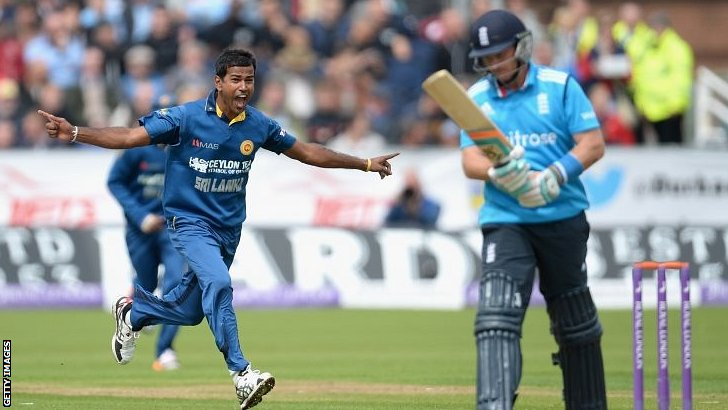 Nuwan Kulasekara of Sri Lanka celebrates