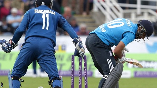 England batsman Ravi Bopara is dismissed