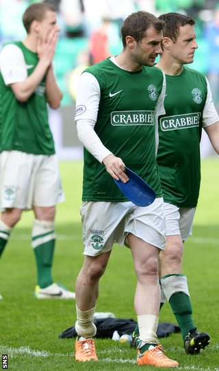 Kevin Thomson and his Hibs team-mates are left disconsolate