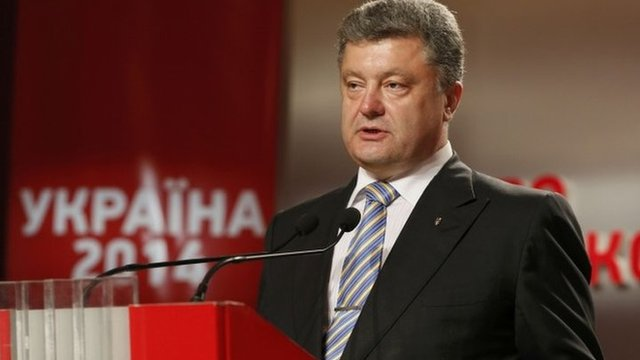 Ukrainian businessman and presidential candidate Petro Poroshenko speaks to supporters at his election headquarters in Kiev, 25 May