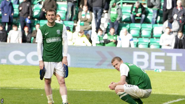 Hibs players Kevin Thomson and Scott Robertson