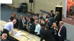 Pembs huddle to check spoilt papers.  #everyvotecounts.