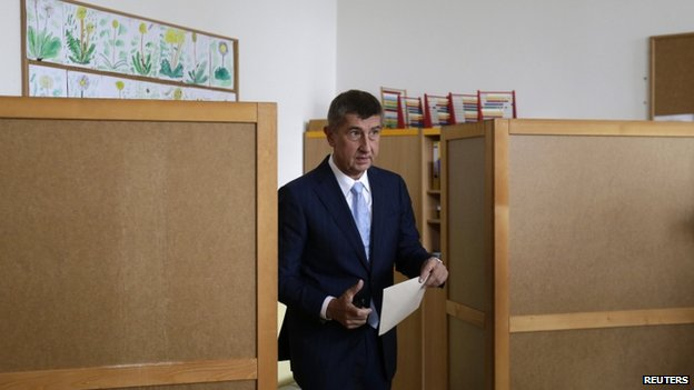 The leader of ANO (Yes) movement Andrej Babis, voting in the European Parliament election in the Czech Republic, 25 May 2014