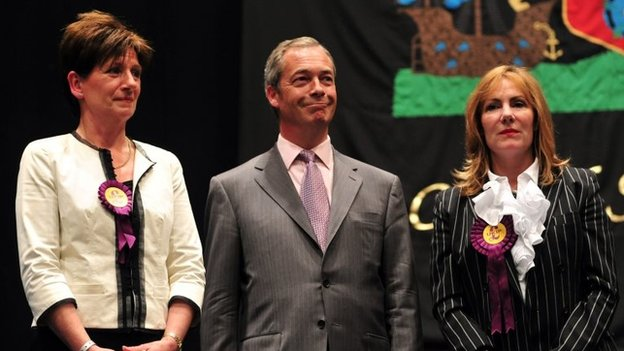 Nigel Farage in Southampton after the vote results are announced, with fellow UKIP Euro candidates in the South East Diane James (left) and Janice Atkinson