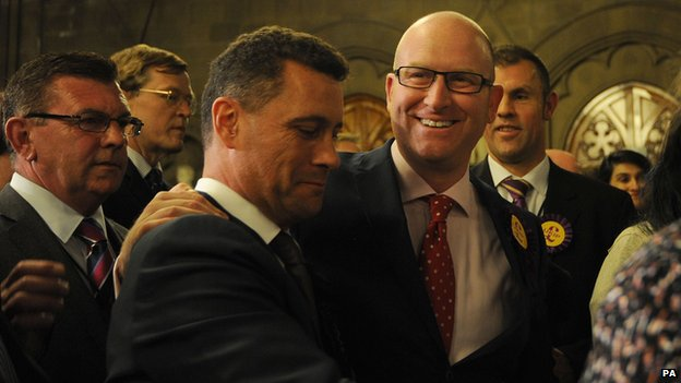 UKIP's Paul Nuttall (right) celebrates with other party members
