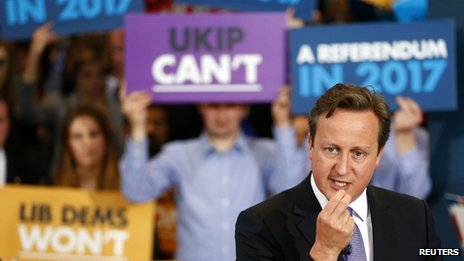 David Cameron campaigning during  the European elections
