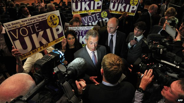 Nigel Farage surrounded by supporters and media