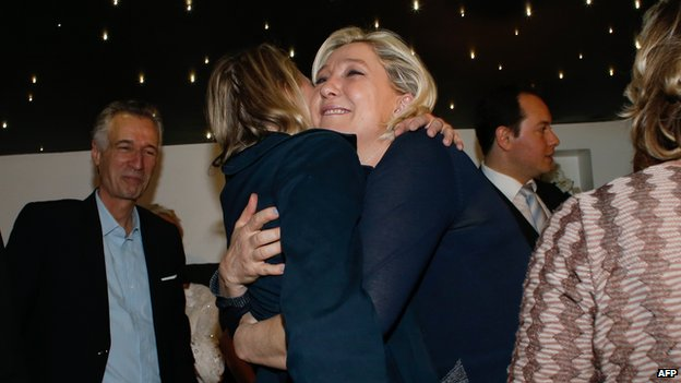 Marine Le Pen celebrating, 25 May 14