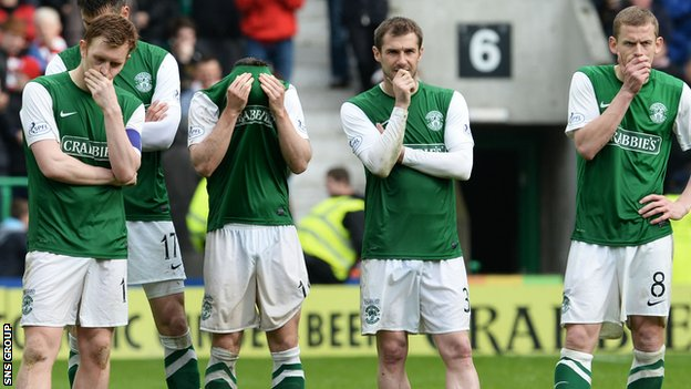 Hibs were relegated from the Premiership on Sunday