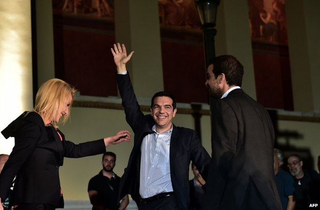 Syriza leader Alexis Tsipras celebrates in Athens, 25 May