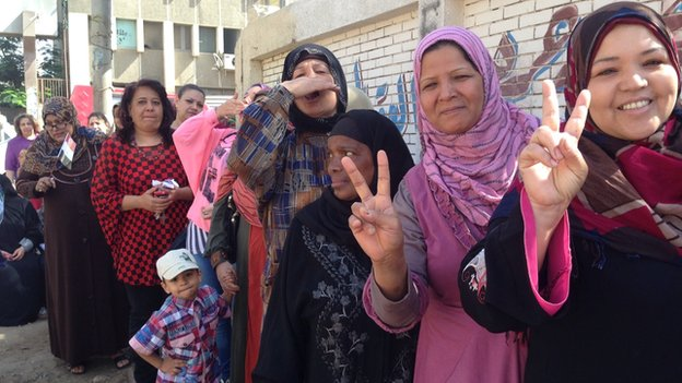 Women queue to vote in Minya