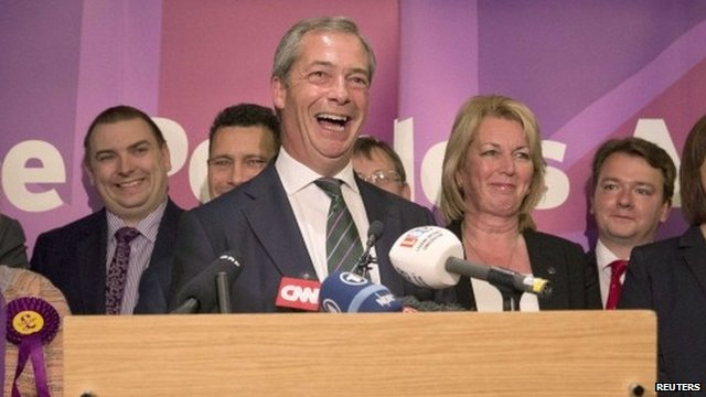 Nigel Farage (centre)