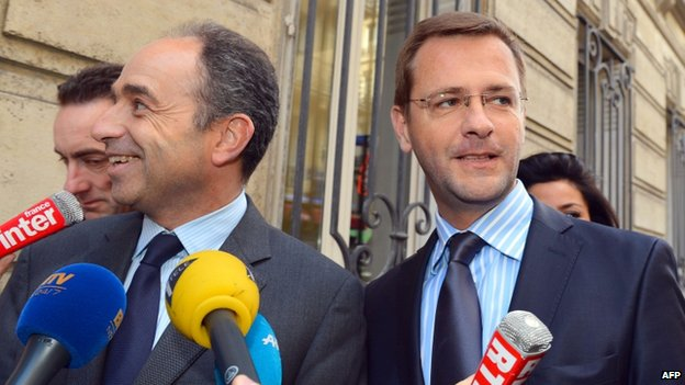 UMP Chairman Jean-Francois Cope (left) with Jerome Lavrilleux
